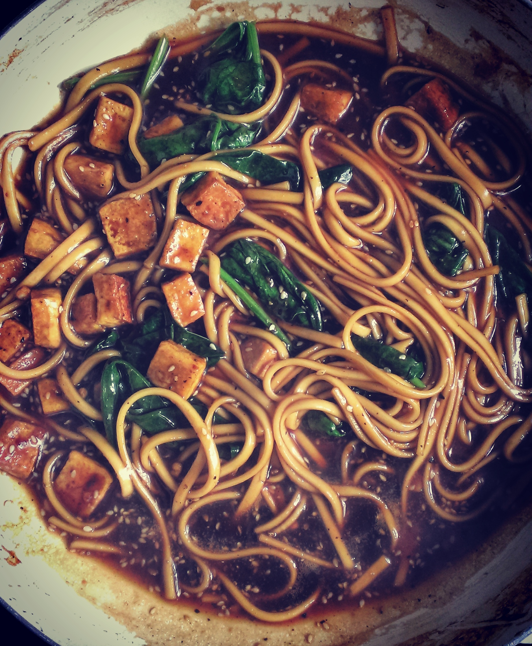 Sesame Tofu with Udon noodles in Honey Black Pepper Sauce