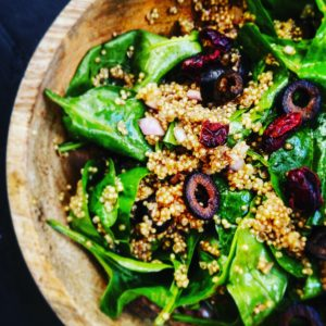 Spinach Quinoa and Cranberry Salad
