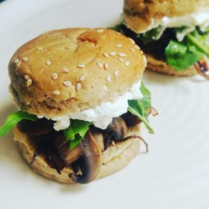 Balsamic Mushroom and Feta Sliders