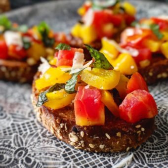 Tomato and Bell Pepper Bruschetta